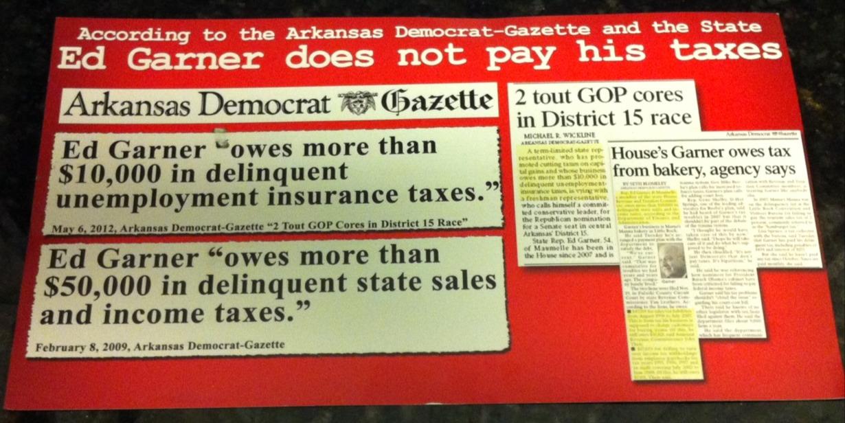 Sanders Campaign Mailer Hits Garner On Tax Problems - Talk