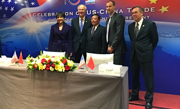 At the signing ceremony were (from left) U.S. Secretary of Commerce Penny Pritzker; Gov. Asa Hutchinson; Chairman and Founder of Sun Paper Company Hongxin Li; AEDC Director Mike Preston; and Consulate General of the U.S. Charles Bennett.