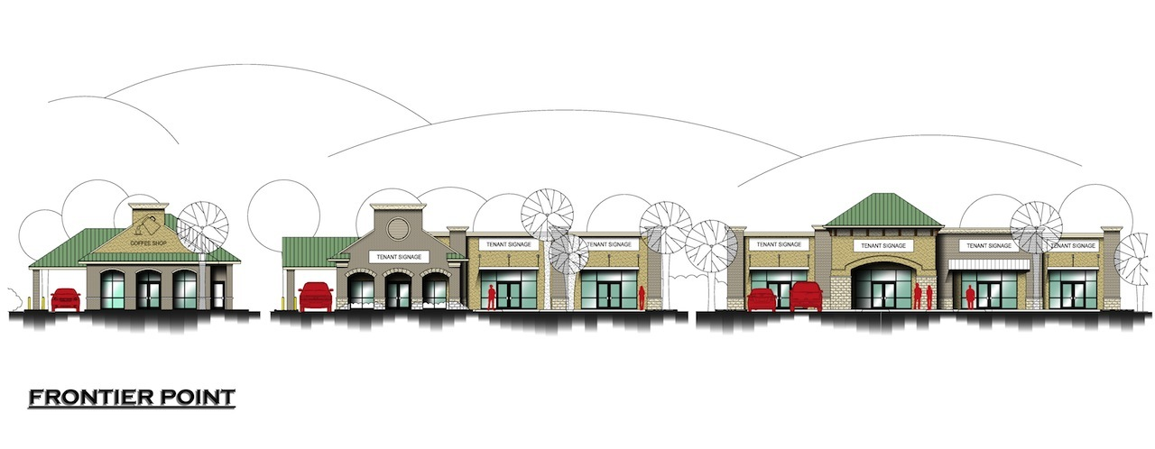 Front view of planned Frontier Point retail center at Chaffee Crossing.