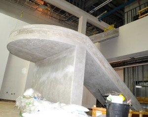 Concrete work for the main staircase in the lobby of the Arkansas College of Osteopathic Medicine.
