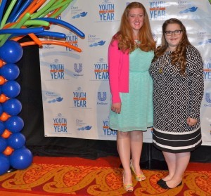 (from left) Hannah Whitehead, program director at the BGCBC stands with Morgan Russow, 2016 Youth of the Year winner.