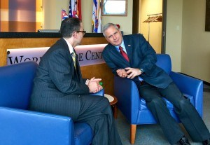 (from left) Melvin Torres, director of Latin American Trade at the Arkansas World Trade Center, visits with Juan Lamiguerio Leon, deputy chief of mission for the Embassy of the Republic of Cuba prior to a brief press conference at the World Trade Center in Rogers on Wednesday (April 13). The Cuban trade delegation visited Central and Northwest Arkansas this week to facilitate trade and investment between the Natural State and Cuba.