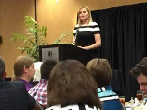 Geena Davis, actor and co-founder of the Bentonville Film Festival was the keynote speaker at the Bentonvillle-Bella Vista Chamber Small Business Luncheon held in Bentonville Wednesday (May 4).