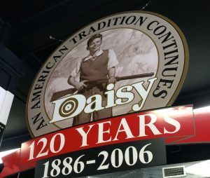 Sign at the Daisy museum in Rogers from the company's 100th anniversary year.