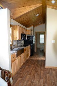 The kitchen inside an Eagle Home model. This tiny home is handicap-friendly.