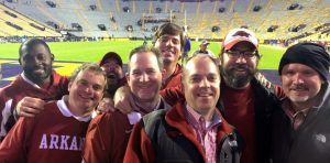 """The Tusk To Tail crew in """"Death Valley"""" in 2015 following the Razorback victory over LSU."""