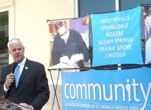 U.S. Rep. Steve Womack, R-Rogers, addresses the audience during an event at the Community Clinic in Fayetteville.