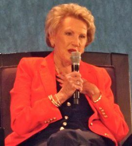 Johnelle Hunt, chairman of Hunt Ventures and wife of the late trucking icon J.B. Hunt, addresses the audience Thursday at the Summit Luncheon held at Cross Church in Rogers.