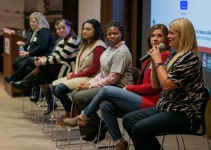 Monica Kelly, director of technology for Wal-Mart Stores, answers a question during the Girls in IT event held Friday at Tyson Foods headquarters in Springdale.