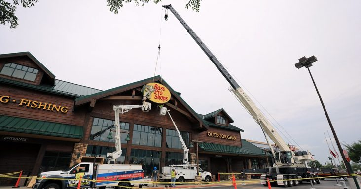 Bass Pro Shops installs new signage at Cabela's renovation project